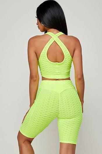 Neon Green Wholesale 2 Piece Scrunch Butt Biker Shorts and Crisscross Crop Top Set