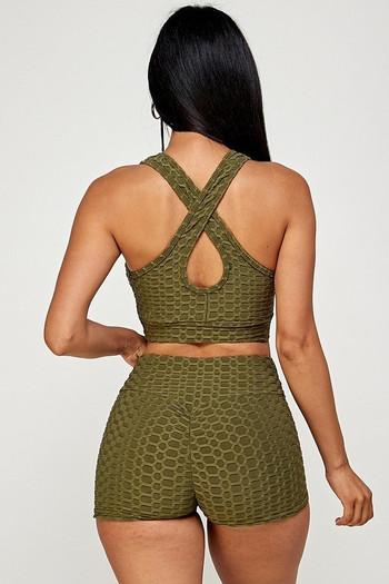Olive Wholesale  2 Piece Scrunch Butt Shorts and Crisscross Crop Top Set
