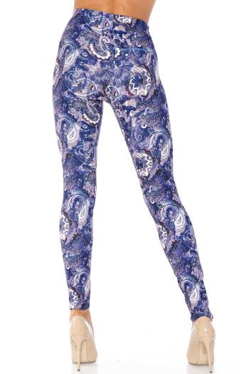 Wholesale Creamy Soft Indigo Blue Paisley Kids Leggings - USA Fashion™