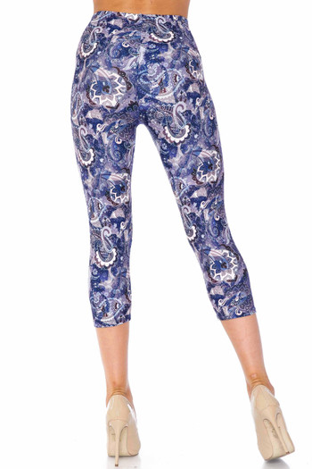 Wholesale Creamy Soft Indigo Blue Paisley Capris - USA Fashion™
