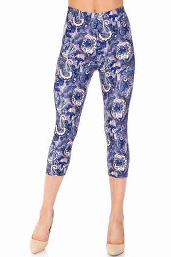 Wholesale Creamy Soft Indigo Blue Paisley Plus Size Capris - USA Fashion™