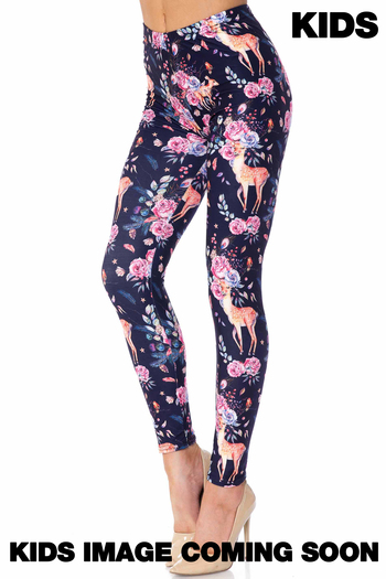 Wholesale Creamy Soft Woodland Floral Fawn Kids Leggings - USA Fashion™