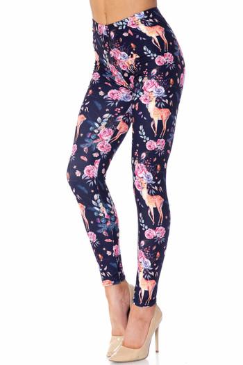 Wholesale Creamy Soft Woodland Floral Fawn Extra Plus Size Leggings - 3X-5X - USA Fashion™