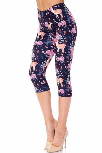 Wholesale Creamy Soft Woodland Floral Fawn Capris - USA Fashion™