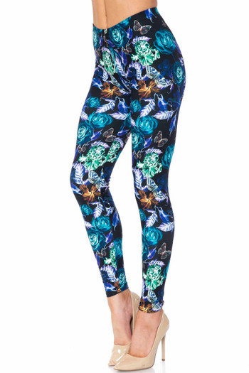 Wholesale Creamy Soft Electric Blue Floral Butterfly Extra Plus Size Leggings - 3X-5X - USA Fashion™
