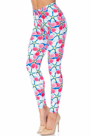 Wholesale Creamy Soft Pink and Blue Sunshine Floral Plus Size Leggings - USA Fashion™