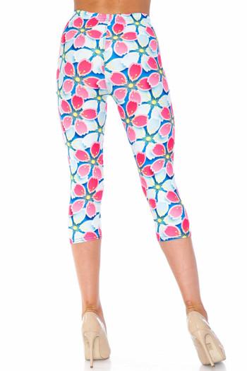 Wholesale Creamy Soft Pink and Blue Sunshine Floral Plus Size Capris - USA Fashion™