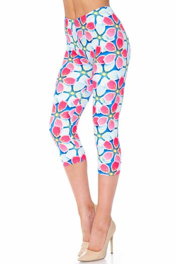 Wholesale Creamy Soft Pink and Blue Sunshine Floral Extra Plus Size Capris - 3X-5X - USA Fashion™