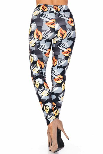 Wholesale Creamy Soft Orange Leaf Breeze Extra Plus Size Leggings - 3X-5X - USA Fashion™