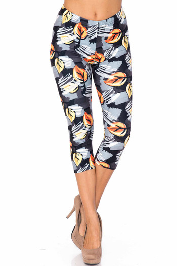 Wholesale Creamy Soft Orange Leaf Breeze Plus Size Capris - USA Fashion™