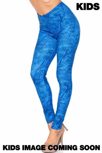 Wholesale Creamy Soft Blue Wrinkled Denim Kids Leggings - USA Fashion™