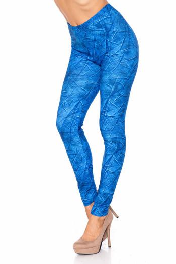 Wholesale Creamy Blue Wrinkled Denim Plus Size Leggings - USA Fashion™