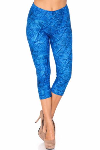 Wholesale Creamy Soft Blue Wrinkled Denim Plus Size Capris - USA Fashion™
