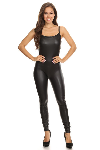 Front side image of Wholesale USA Spaghetti Strap Faux Leather Jumpsuit