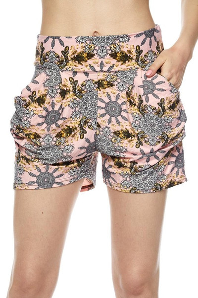 Wholesale Buttery Soft Gorgeous Pink Motif Harem Shorts