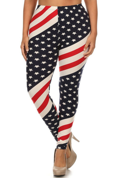 Wholesale Buttery Soft Mini Star Twist USA Flag Plus Size Leggings