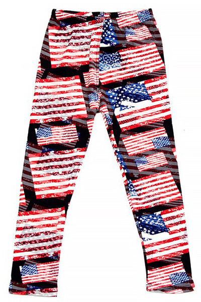 Wholesale Buttery Soft 3D Hologram USA Flag Kids Leggings