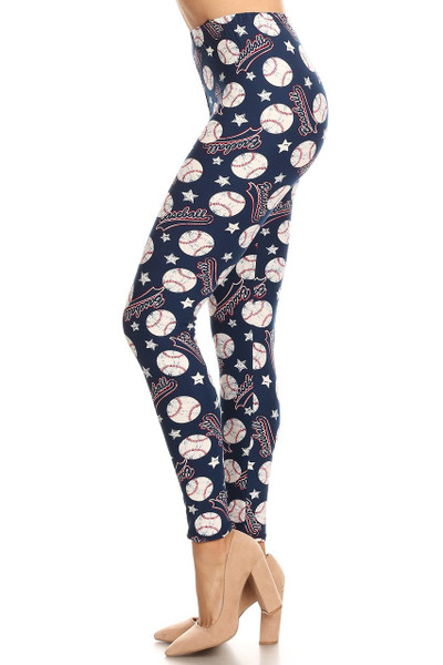 Wholesale Buttery Soft Baseball Plus Size Leggings - 3X-5X