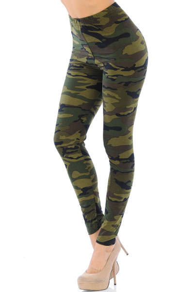 Wholesale Buttery Soft Green Camouflage  Leggings