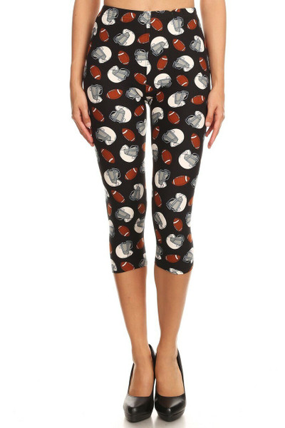 Wholesale Buttery Soft National Football Plus Size Capris - LIMITED EDITION