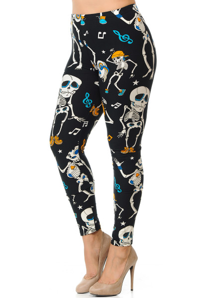 Wholesale Buttery Soft Dancing Skeletons Plus Size Leggings - 3X-5X