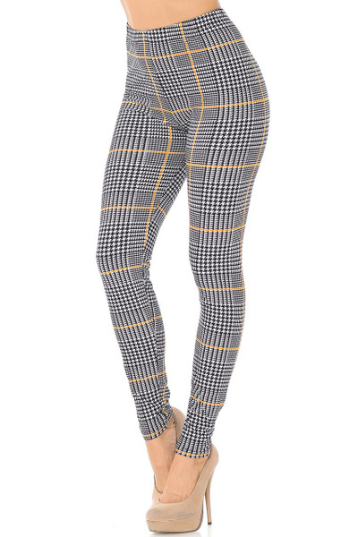 Wholesale Buttery Soft Mustard Accent Houndstooth Plaid Plus Size Leggings