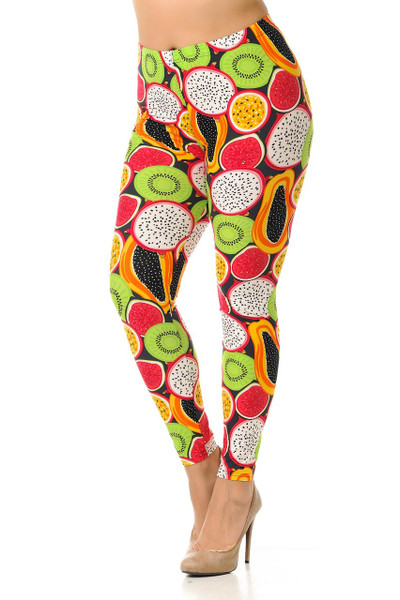 Wholesale Buttery Soft Colorful Tropical Fruit Plus Size Leggings - 3X-5X