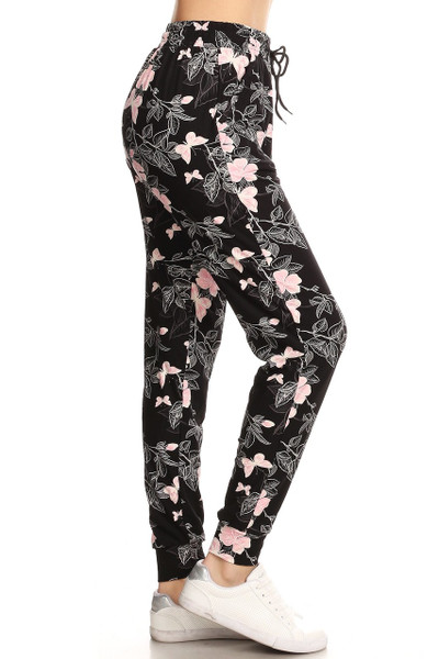 Wholesale Buttery Soft Pink Butterfly Joggers