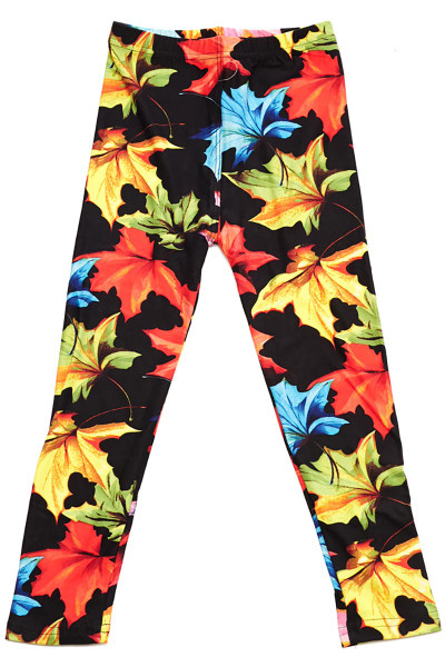 Wholesale Buttery Soft Autumn Leaves Kids Leggings