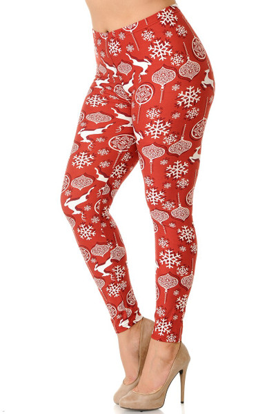 Wholesale Buttery Soft Jumping Reindeer Plus Size Leggings