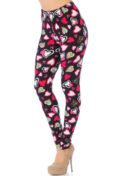 Wholesale Buttery Soft Cute Valentine Hearts Leggings