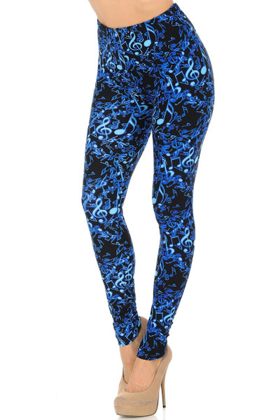 Wholesale Buttery Soft Electric Blue Music Note Leggings