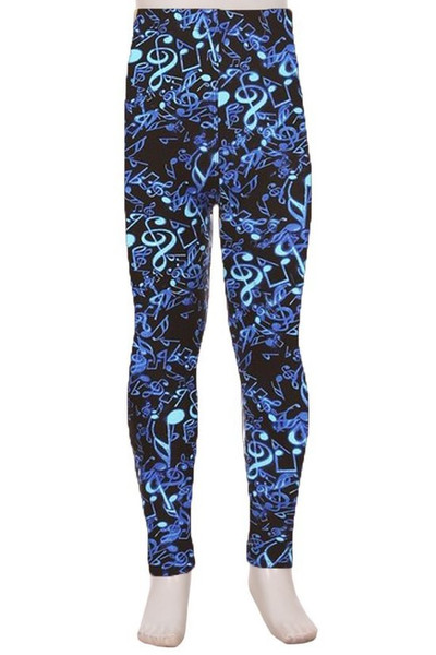 Wholesale Buttery Soft Electric Blue Music Note Kids Leggings