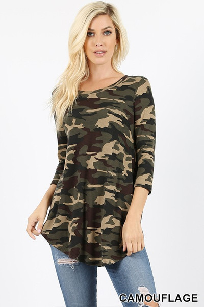 Wholesale 3/4 Sleeve Round Neck and Hem Camouflage Top