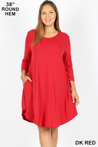 Wholesale 3/4 Sleeve Longline Round Hem Plus Size Rayon Tunic with Pockets