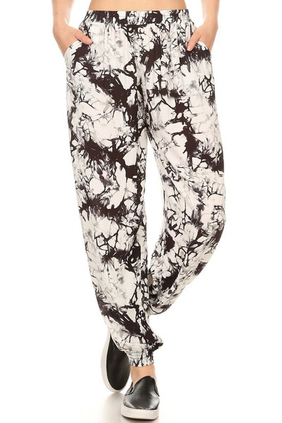Wholesale Black Marble Tie Dye Harem Leggings