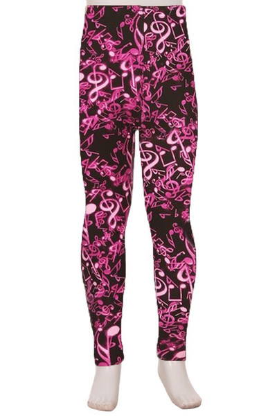 Wholesale Buttery Soft Electric Fuchsia Music Note Kids Leggings