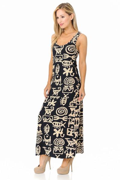 Wholesale Buttery Soft Elegant Tribal Symbols Maxi Dress - EEVEE