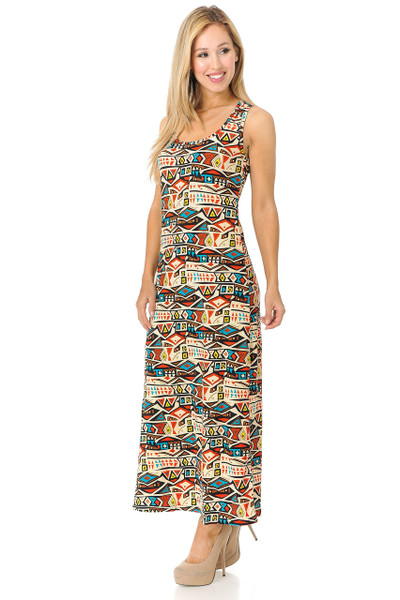 Wholesale Buttery Soft Conceptual Tribal Maxi Dress - EEVEE