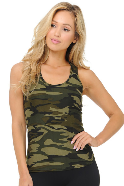 Wholesale Buttery Soft Green Camouflage Women's Tank Top