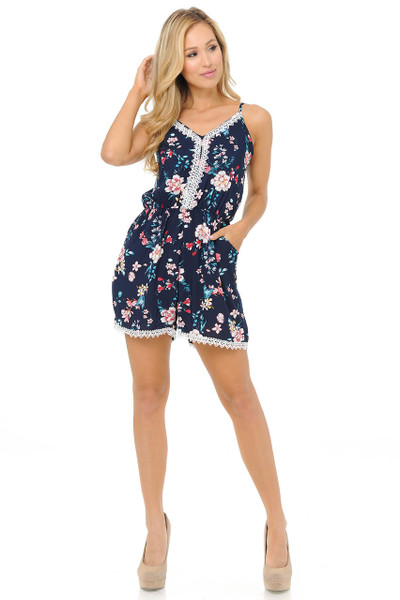 Wholesale Fashion Casual Summer Blooming Floral Romper