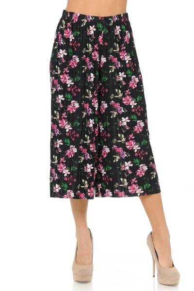 Wholesale Fashion Casual Fuchsia Floral Pleated Gaucho Capris