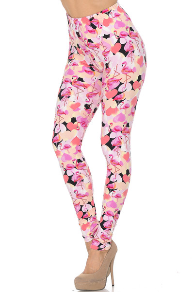 Wholesale Buttery Soft Gorgeous Pink Flamingos Leggings