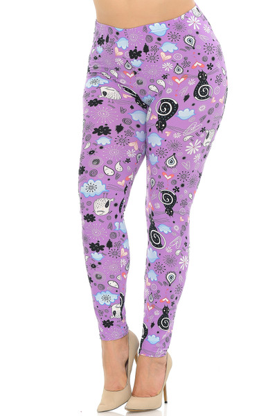 Wholesale Buttery Soft Lavender Kitty Cats Plus Size Leggings