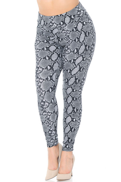 Wholesale Buttery Soft Python Snakeskin High Waisted Plus Size Leggings