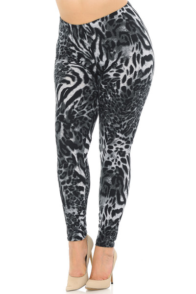 Wholesale Buttery Soft Black and White Siberian Tiger Extra Plus Size Leggings - 3X-5X