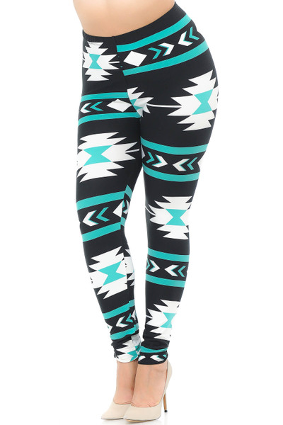Wholesale Buttery Soft Mint on Black Azteca Tribal Plus Size Leggings