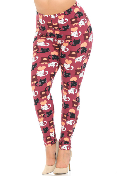 Wholesale Buttery Soft Lovable Kitty Cats Plus Size Leggings
