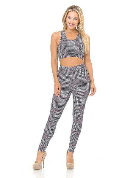 Wholesale Buttery Soft Burgundy Accent Houndstooth Plaid Bra and Leggings Set