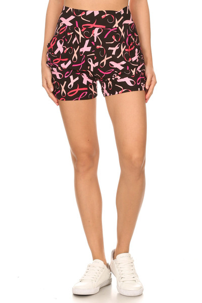 Wholesale Buttery Soft Breast Cancer Awareness Shorts